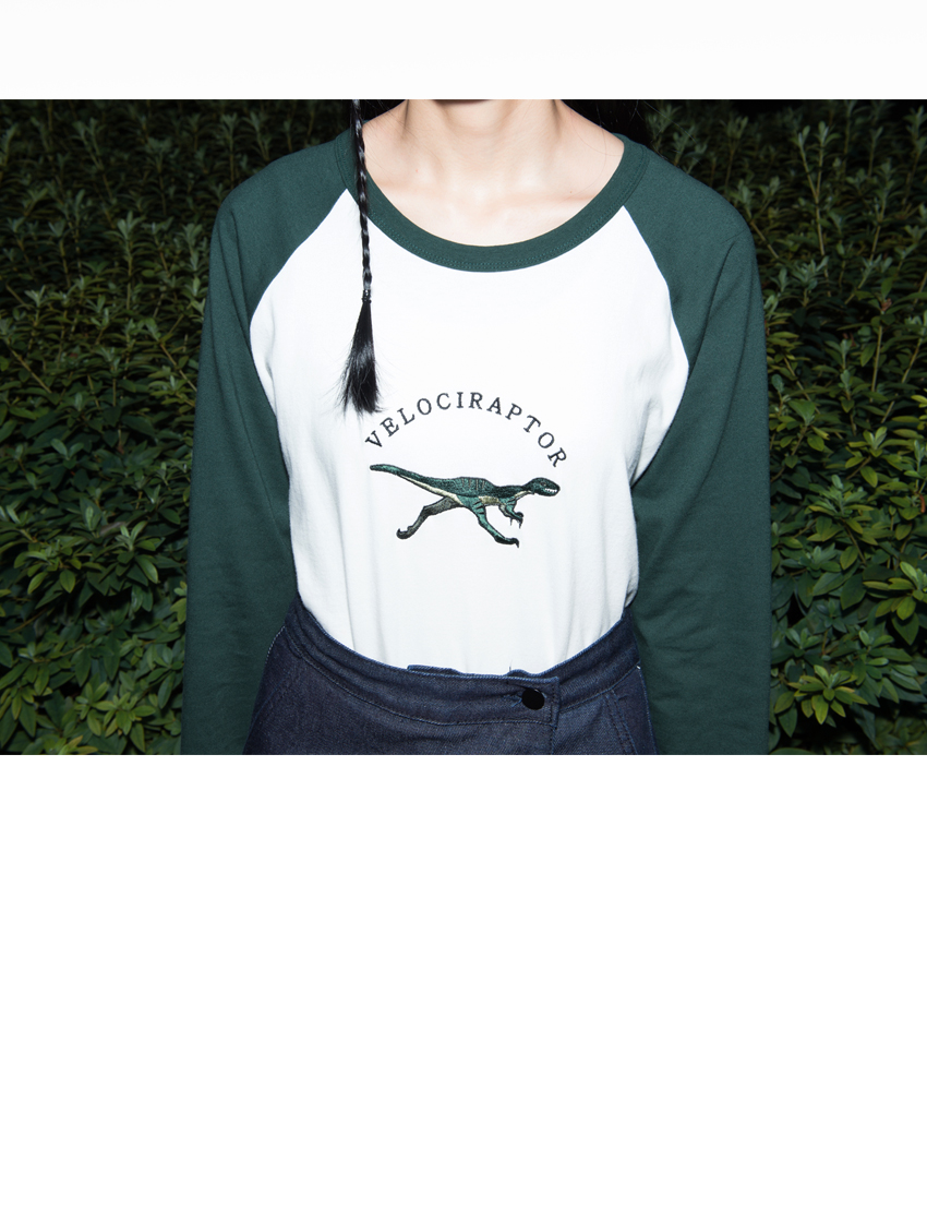 VELOCIRAPTOR Embroidered Detail Raglan T op|